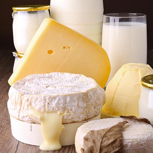 Divers fromages, pots de lait et yaourts