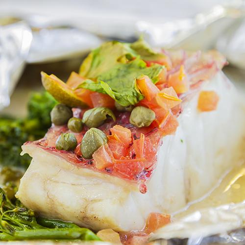 Pavé de poisson blanc et ses légumes
